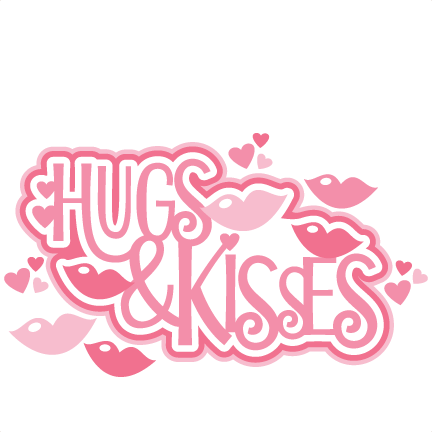 Hug kiss. Valentines day heart clipart
