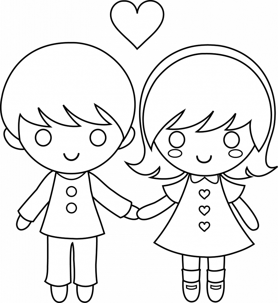 Download boy and girl coloring page clipart Coloring book Colouring ...