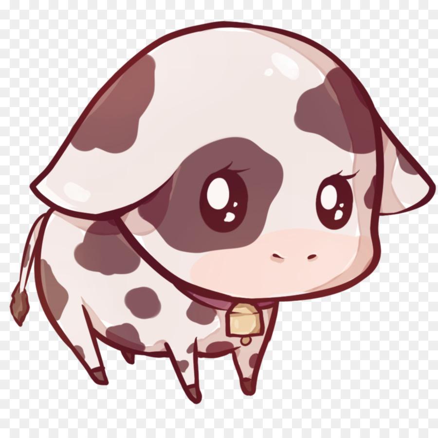 Cow kawaii. Pig cartoon clipart nose