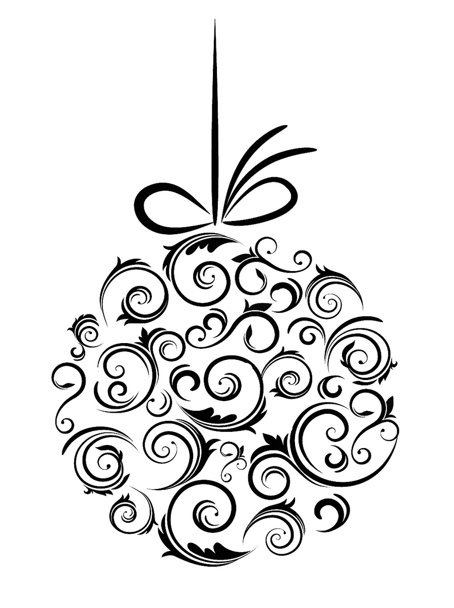 Download Christmas Ornament Clip Art Black And White Clipart