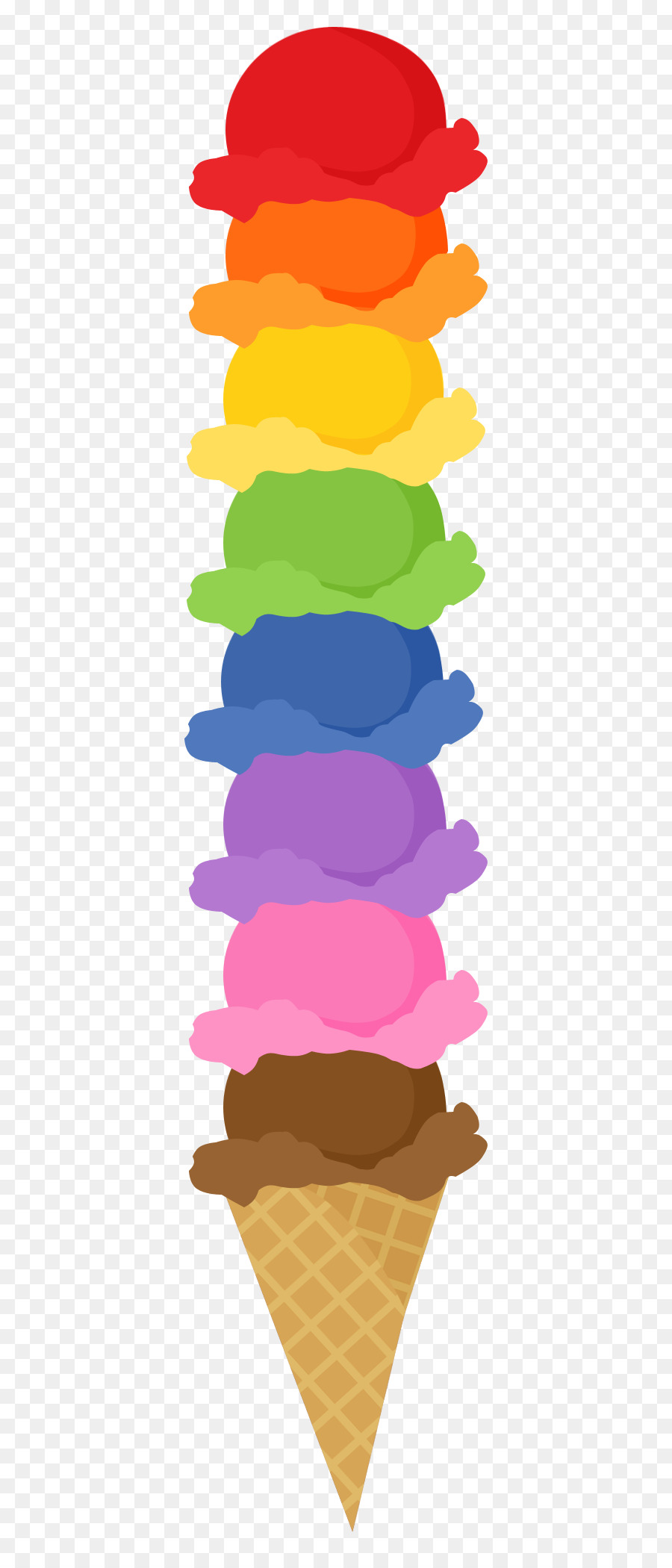 Ice cream rainbow. Cone background clipart transparent