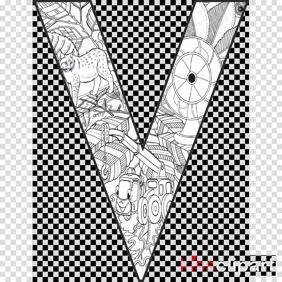 Download V Harfi Boyama Clipart Coloring Book Letter V