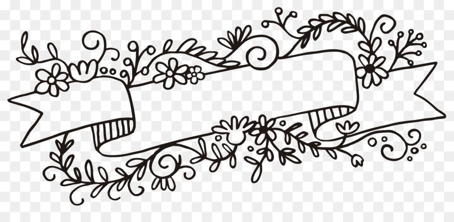 Banner flower. Black and white flowertransparent