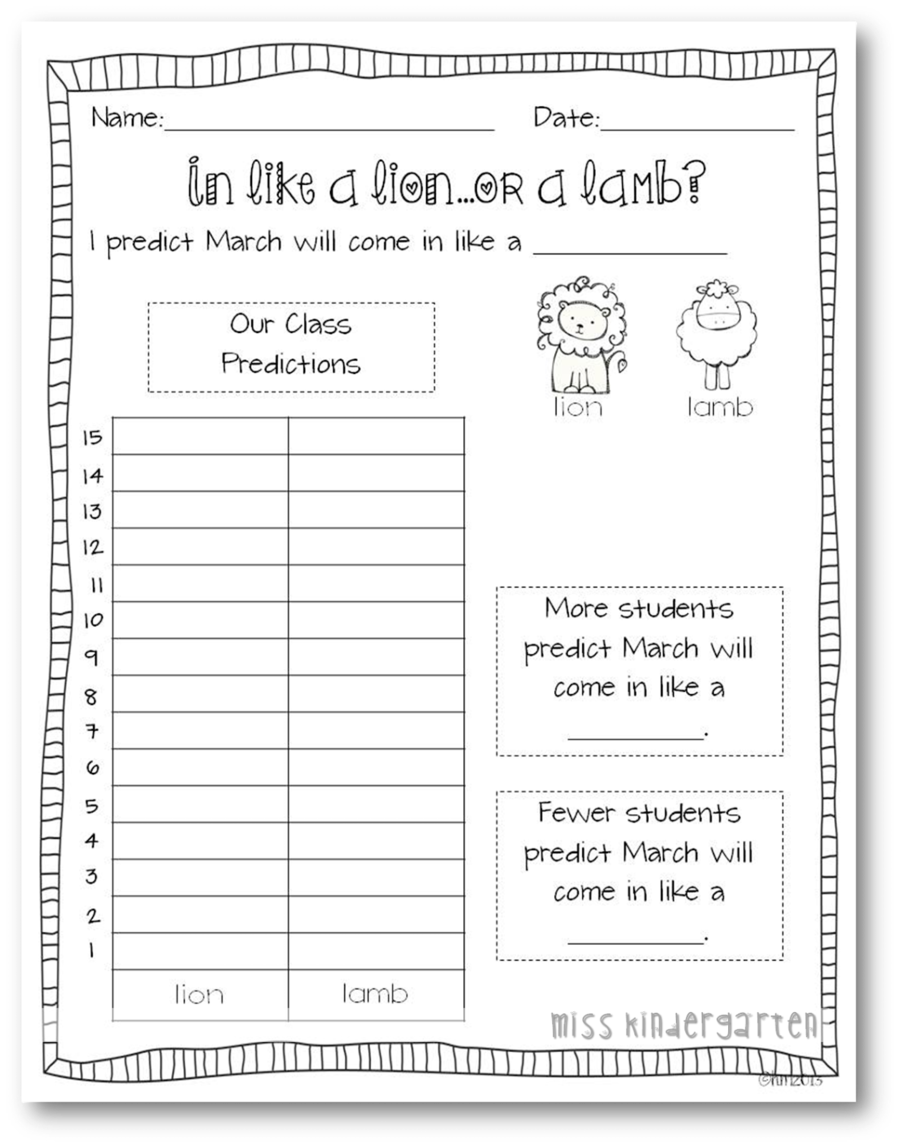 Download Like A Lion Out Lamb Free Worksheets Clipart Pre School Kindergarten