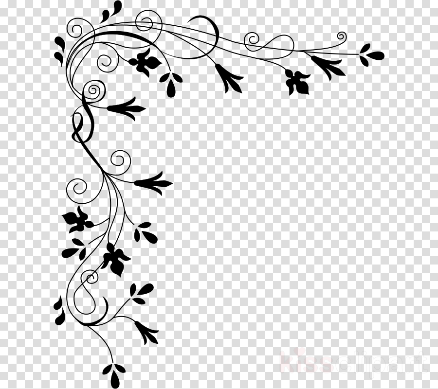 floral border black and white clipart Floral design Black and white Clip art