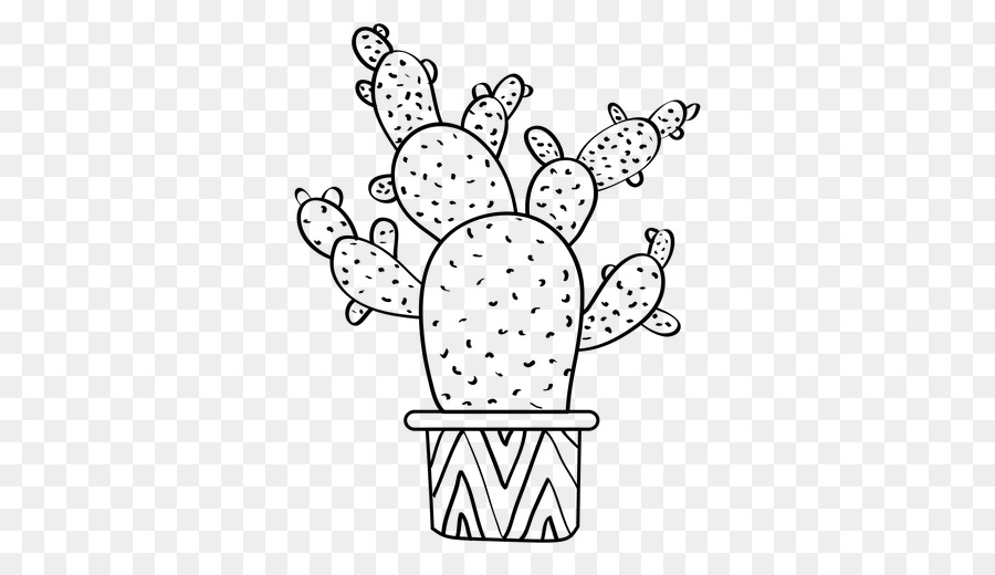 Cactus white. Black and flower clipart