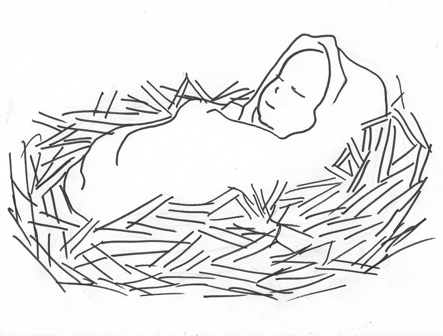 Baby Jesus In A Manger Coloring Clipart Book Colouring Pages Nativity Of