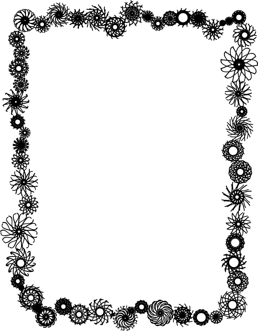 Download Flower Border Frame Black And White Clipart Borders And
