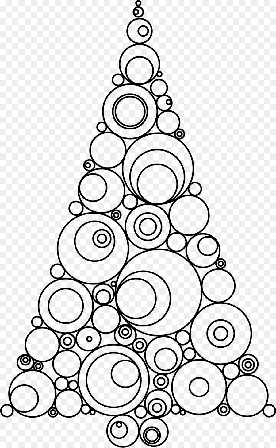 Christmas Tree Line Drawing Clipart Tree Gift Circle