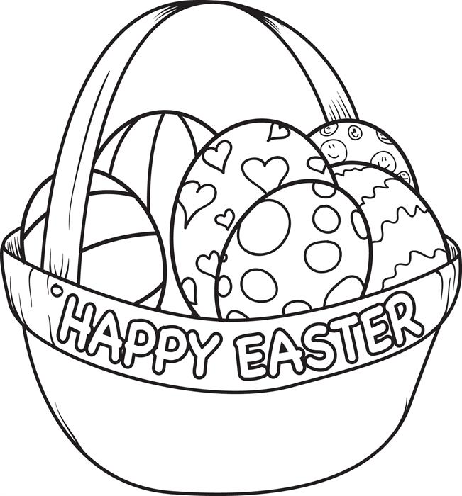 Easter Egg Coloring Pages clipart - Easter, Basket, Food ...