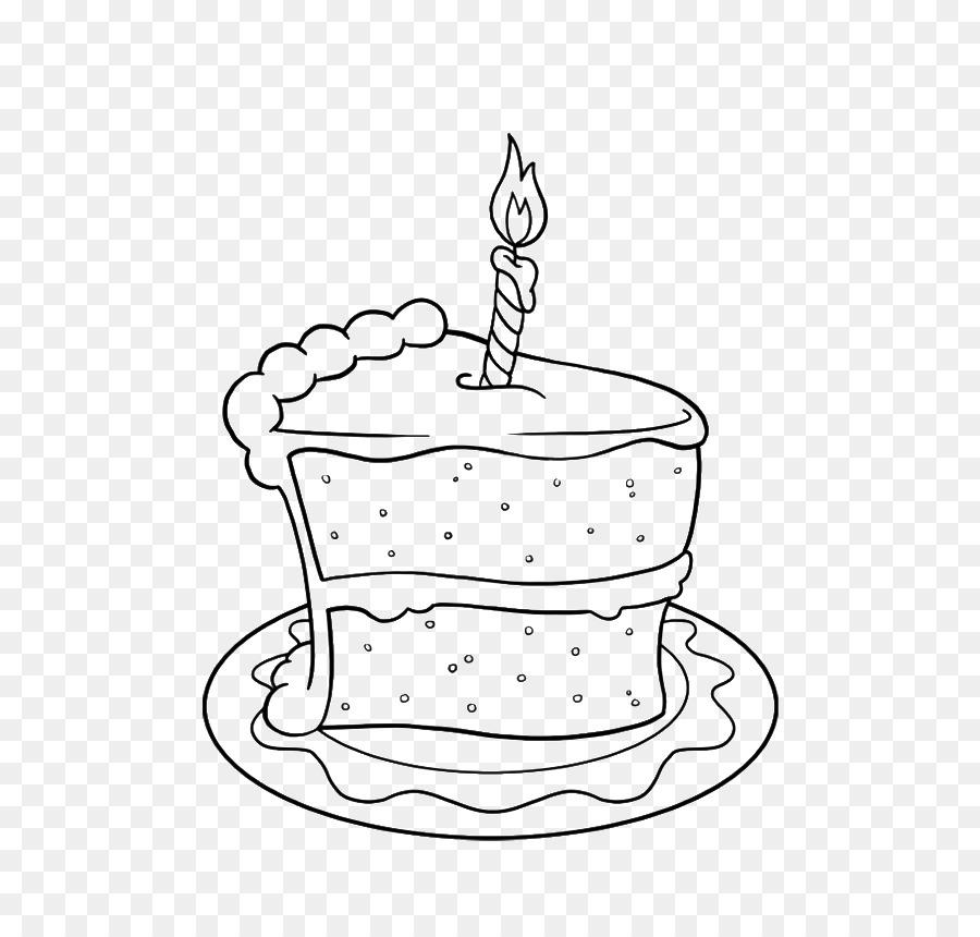Birthday cake drawing. Book black and white
