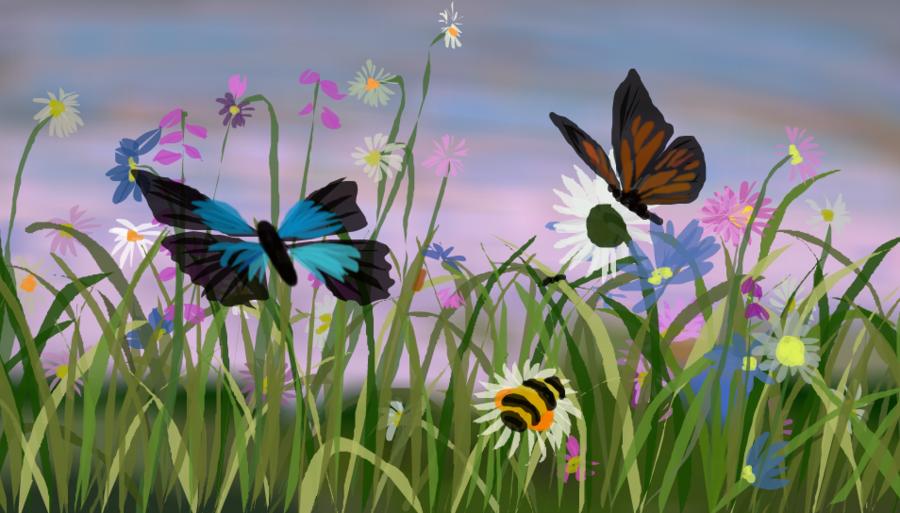 Drawing Of Family clipart - Butterfly, Garden, Flower ... (900 x 513 Pixel)