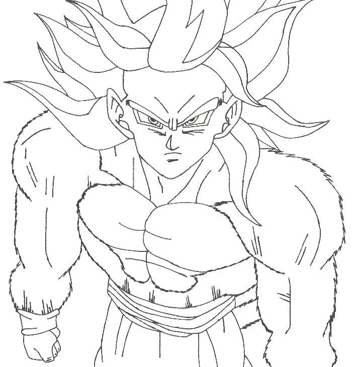 Clipart Resolution 700 730 Goku Super Saiyan 4 Coloring