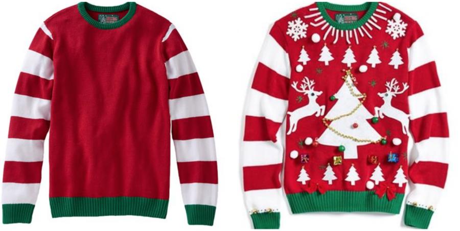 Ugly Christmas Sweater Cartoon.Christmas Jumper Cartoon Clipart Tshirt Clothing