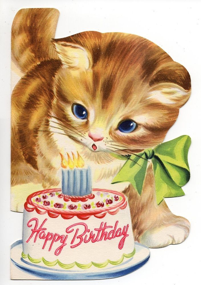 Happy Birthday Card Cat Clipart Kitten Greeting Note Cards