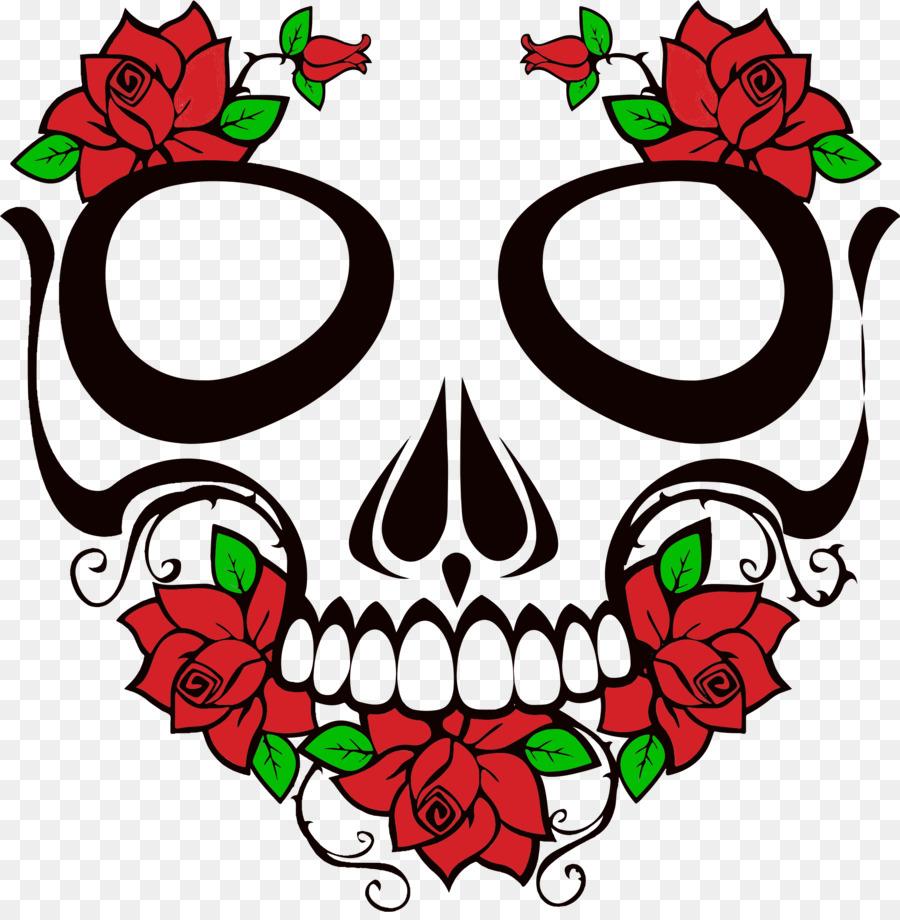 Skull rose. Floral flower background clipart