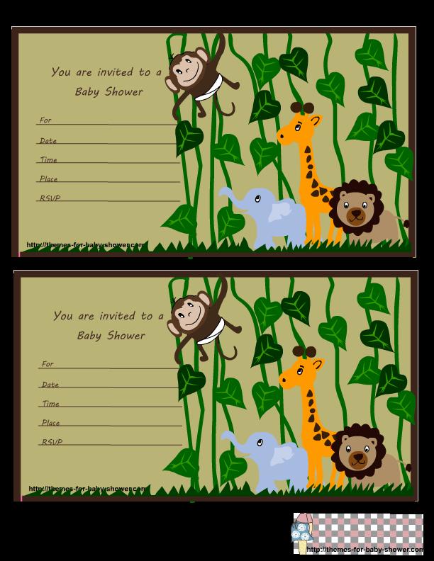 Download Free Printable Safari Theme Baby Shower Invitations Clipart