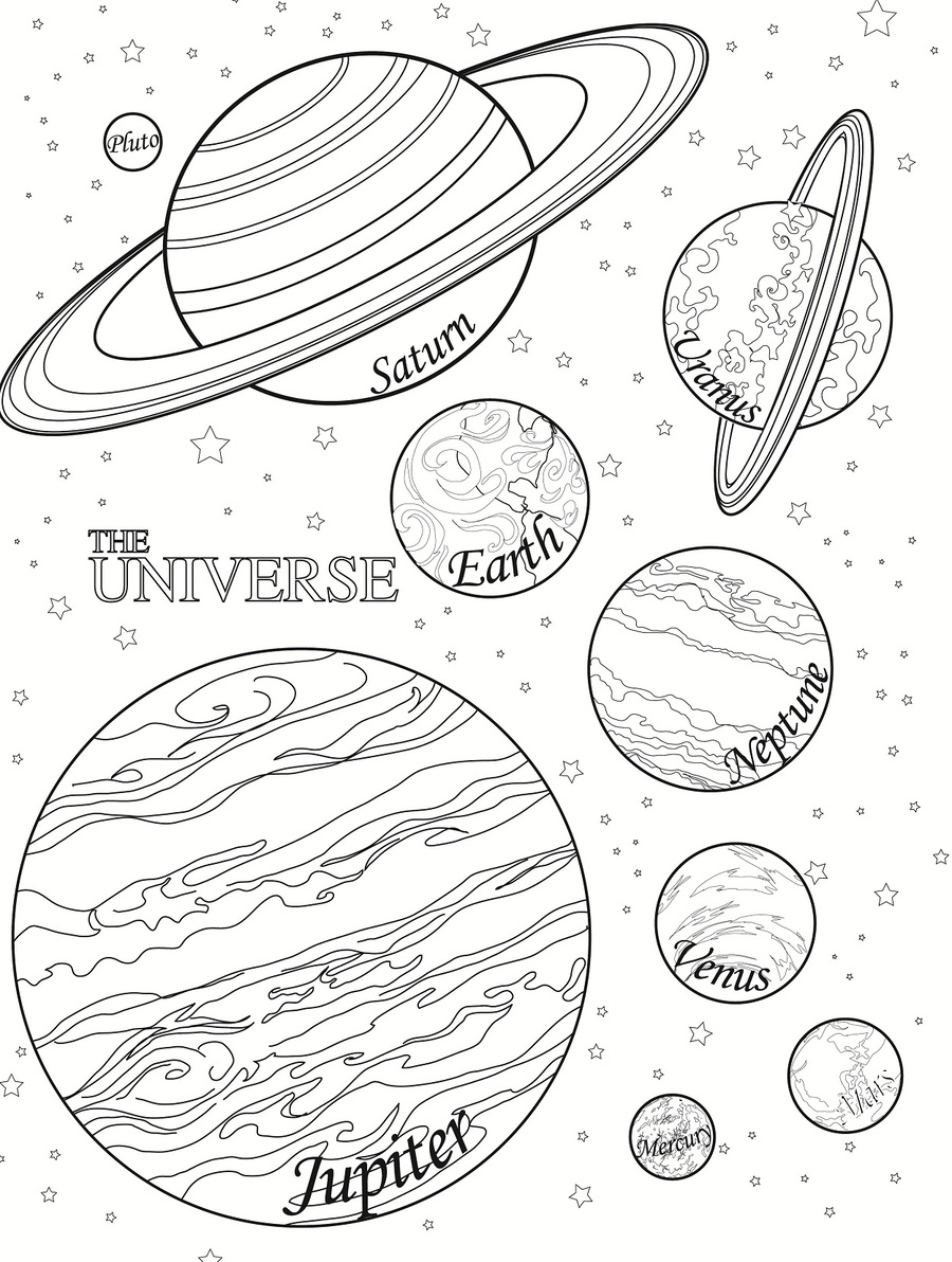 Download solar system to coloring pages clipart Space ...