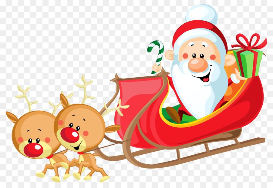 圣诞老人在圣诞老人雪橇剪纸艺术剪辑艺术