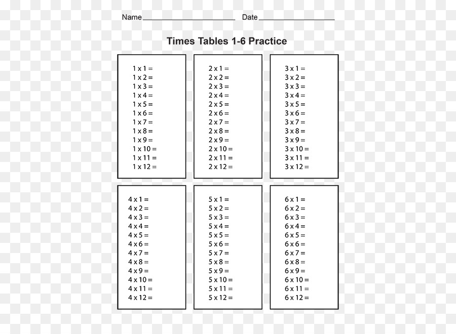 Download Times Tables Blank Clipart Multiplication Table Table