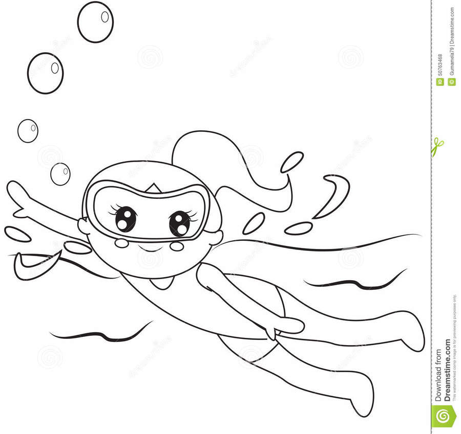 Download Scuba Divers Coloring Pages Clipart Book Underwater Diving
