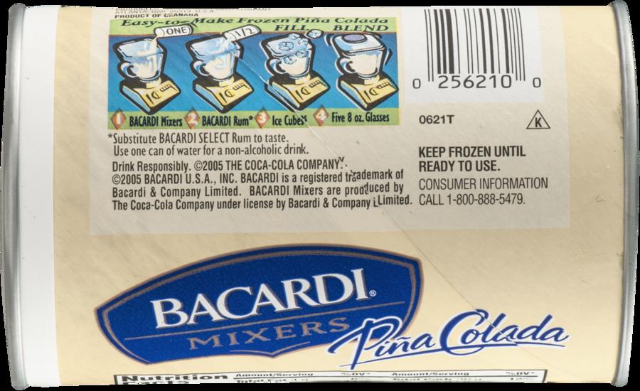 bacardi mixers frozen mixer, pina colada - 10 fl oz can clipart Piña colada Bacardi