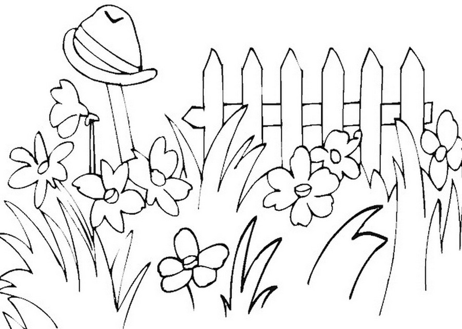 Download garden coloring pages clipart Colouring Pages Flower Garden ...