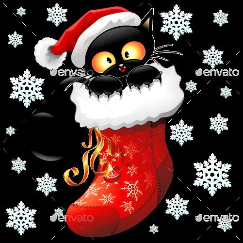 Christmas Stocking Cartoon clipart , Cat, Kitten