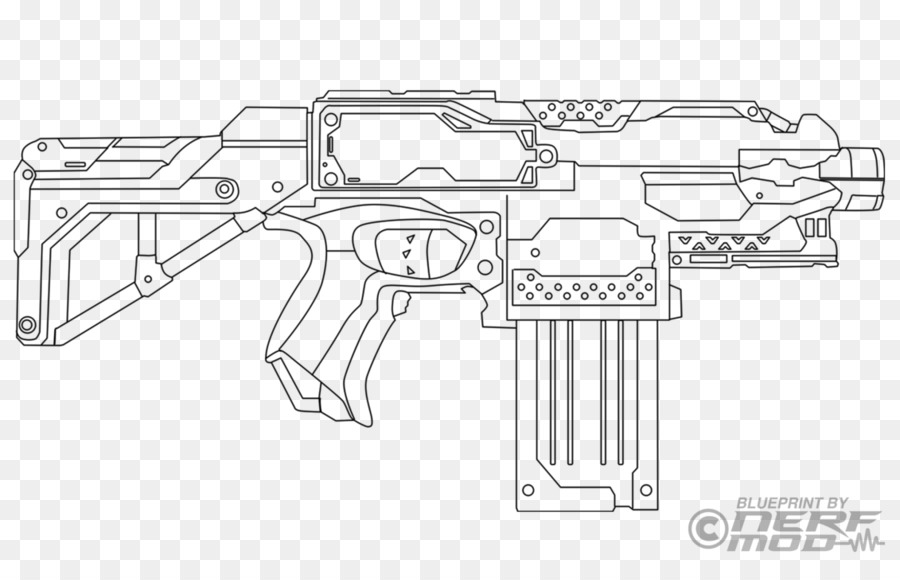 Nerf Gun Coloring Pages Clipart Colouring Book