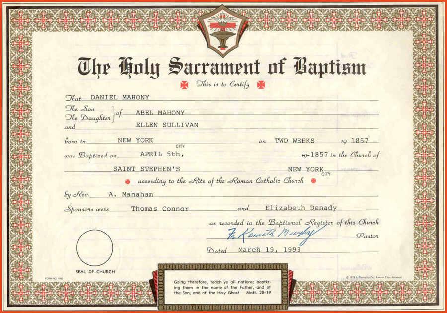 Download Certificate Of Baptism Clipart Baptism Godparent Sacrament