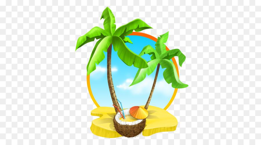Beach coconut. Tree cartoon clipart plant