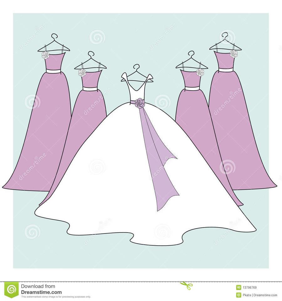 Bride Cartoon Illustration Wedding Dress Drawing Pink Purple