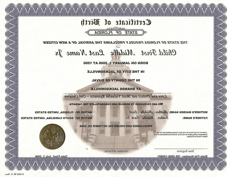 Download Miami Florida Birth Certificate Clipart Apostille
