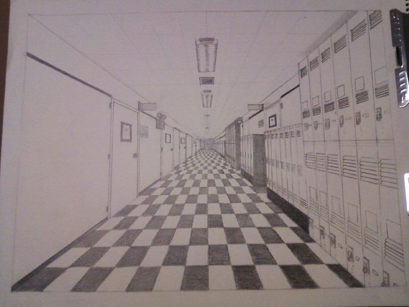 school hallway drawing - 800×600