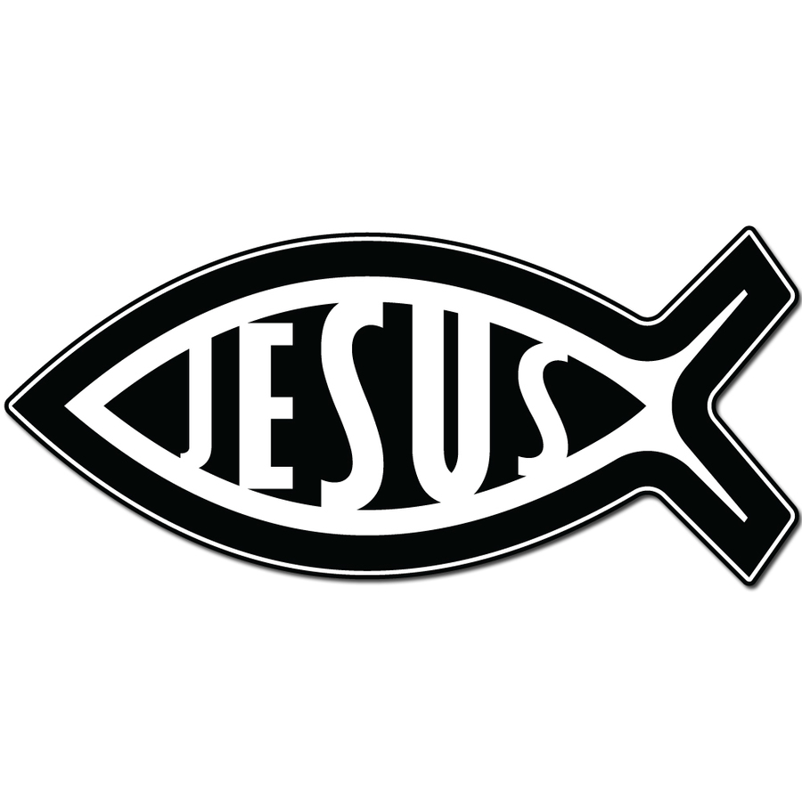 Download White Jesus Fish On Black License Plate Clipart Ichthys