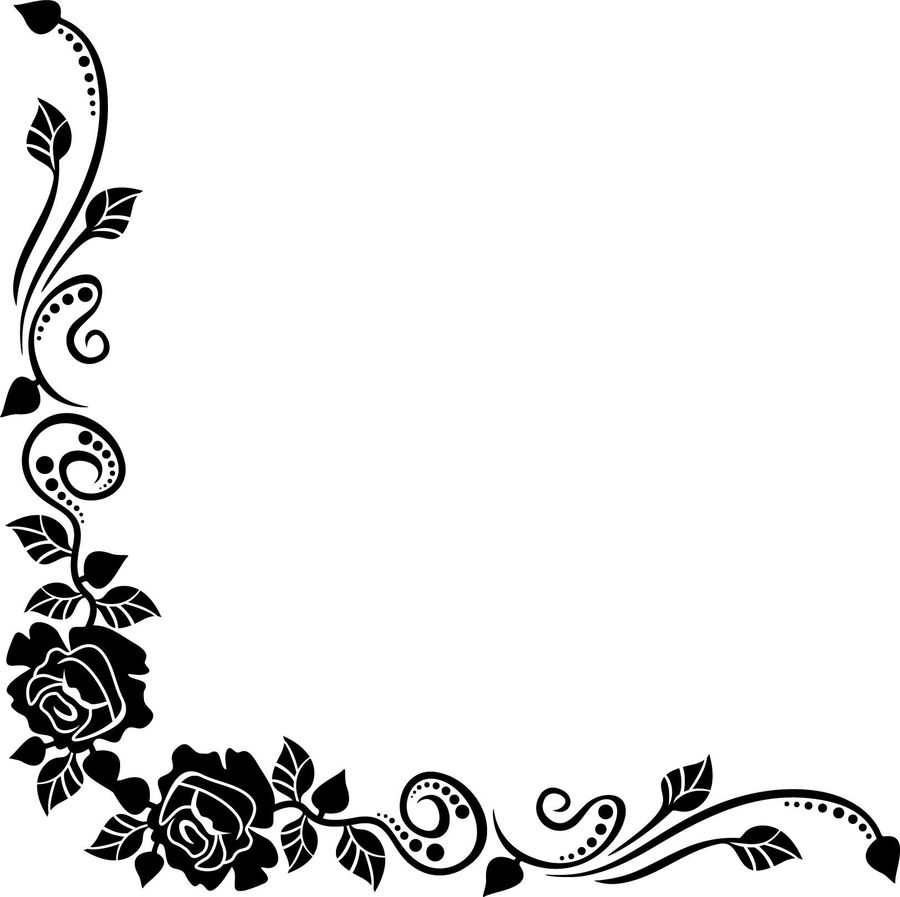Download Black And White Rose Border Png Clipart Rose Clip Art