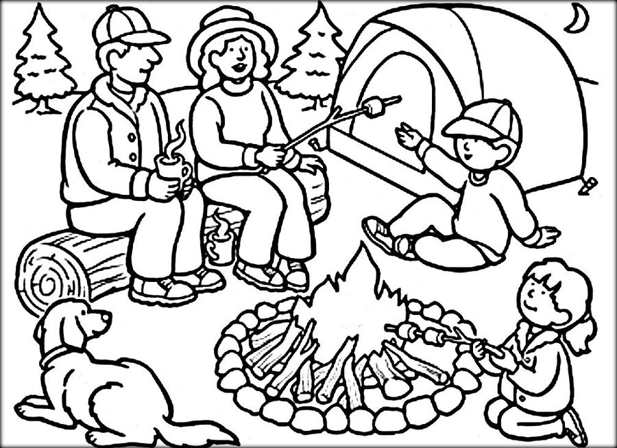 Download Camping Coloring Pages For Preschool Clipart Coloring Book - Camping-coloring-pages