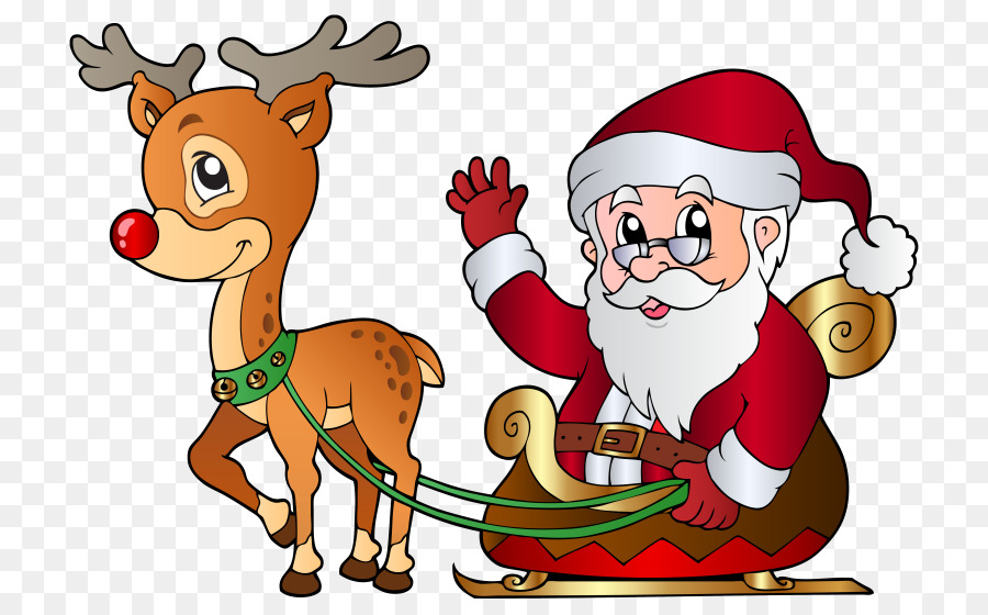 Download happy christmas coloring book clipart Santa Claus Rudolph ...