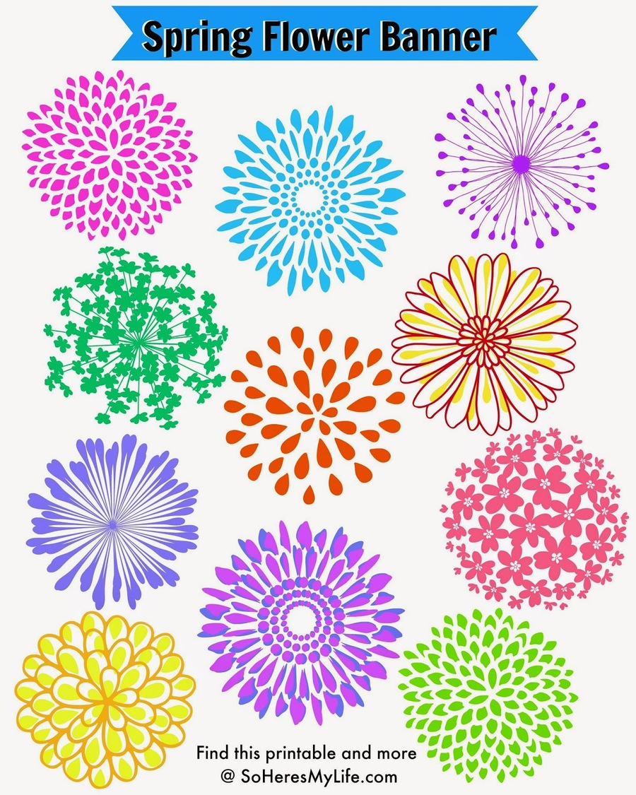 Download Printable Spring Flower Cut Out Clipart Coloring Book Paper