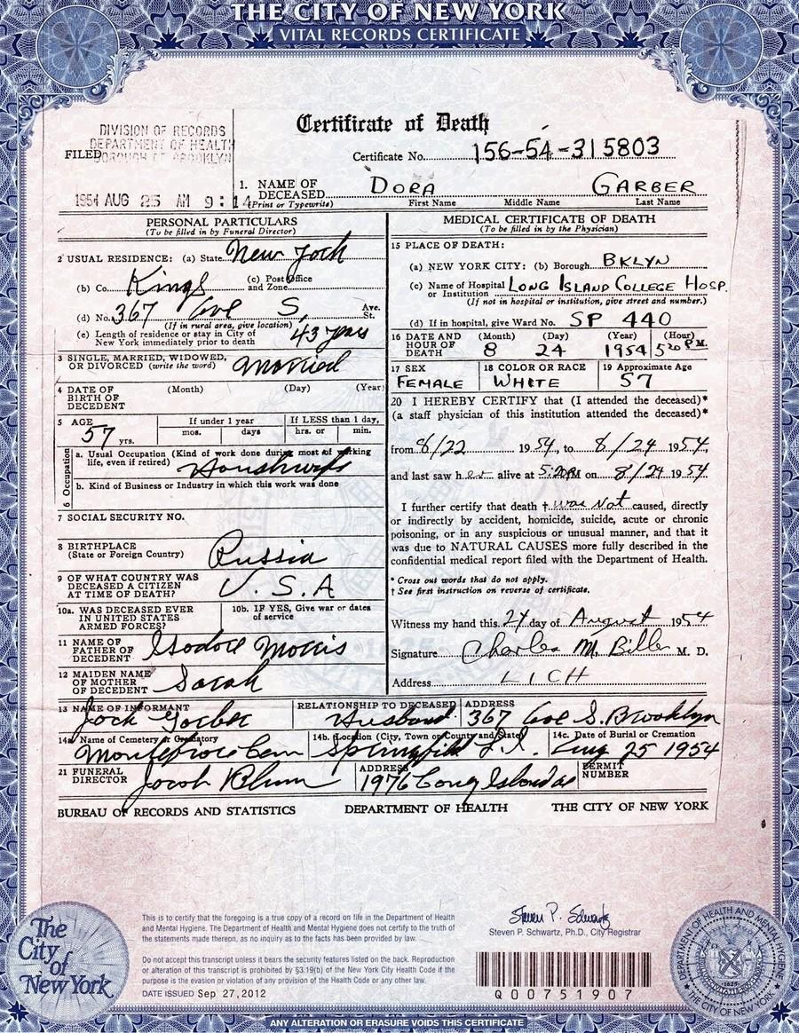 Download Death Certificate Nyc Clipart Death Certificate Manhattan