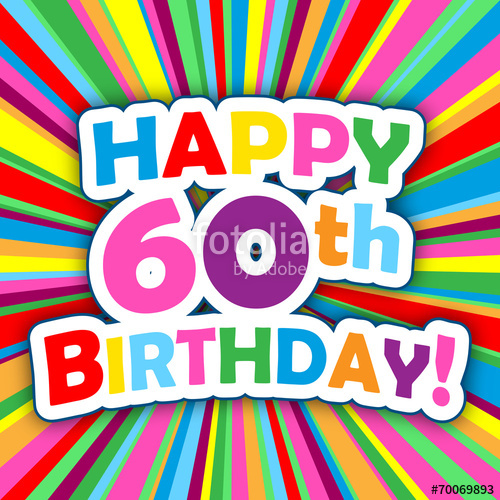 Free Happy 60th Birthday Clipart Greeting Note Cards