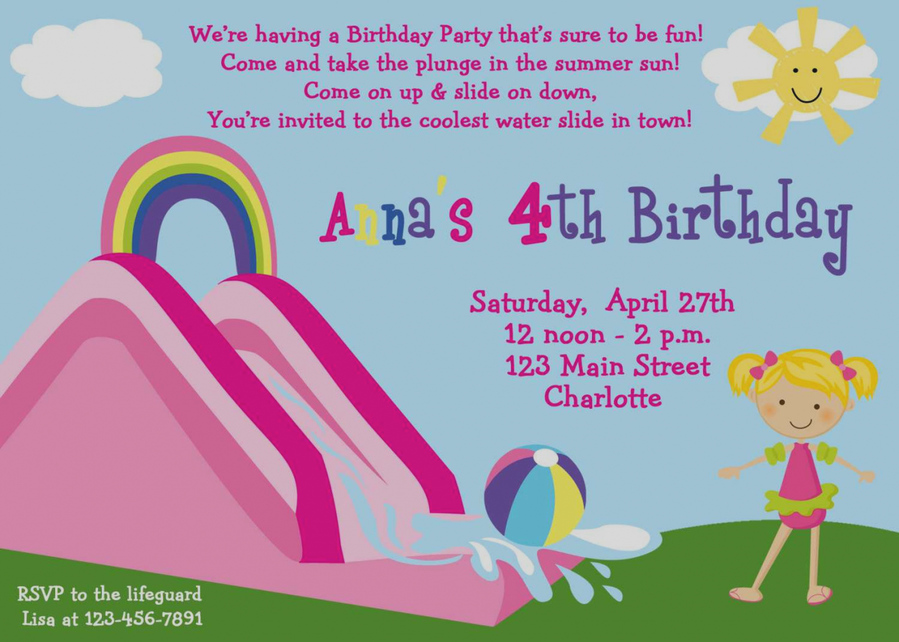 Invitations For Water Slide Party Clipart Pool Slides Birthday
