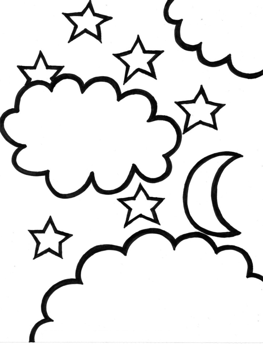 Coloring Pages Moon And Stars Clipart Book Colouring