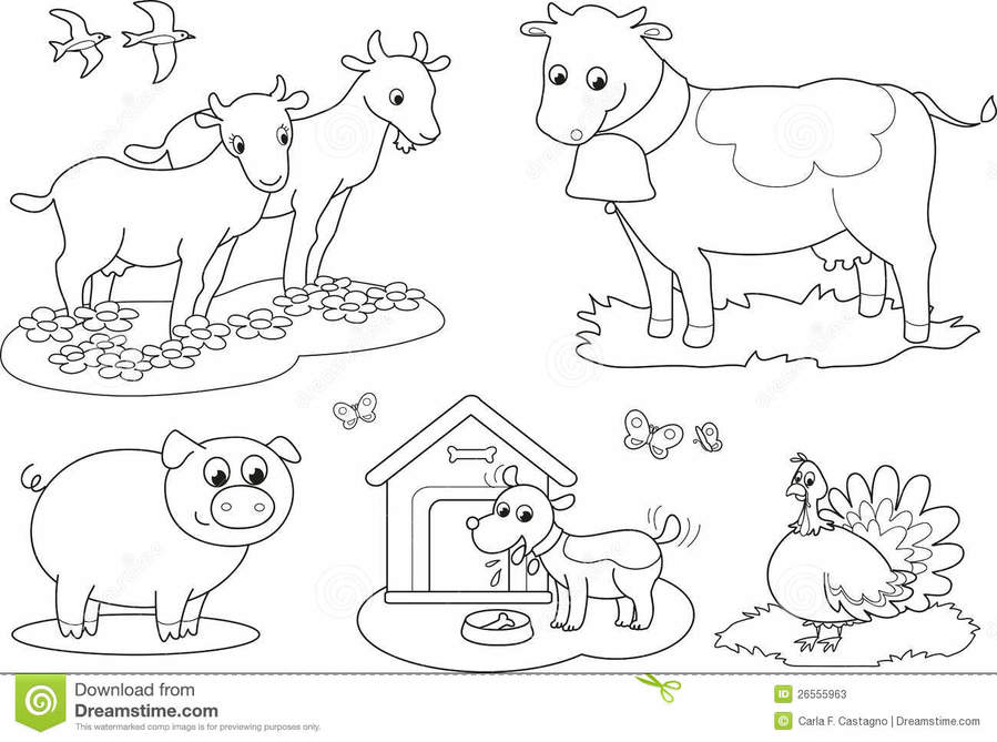 Download farm animals for kids to color clipart Animals Colouring ...