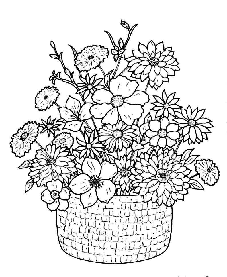 Download flower in basket coloring pages clipart Colouring ...