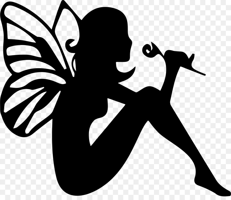 Fairy black. And white flower clipart