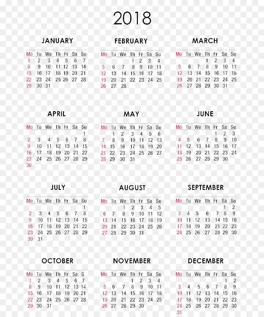 download printable 12 month downloadable calendar 2018 clipart