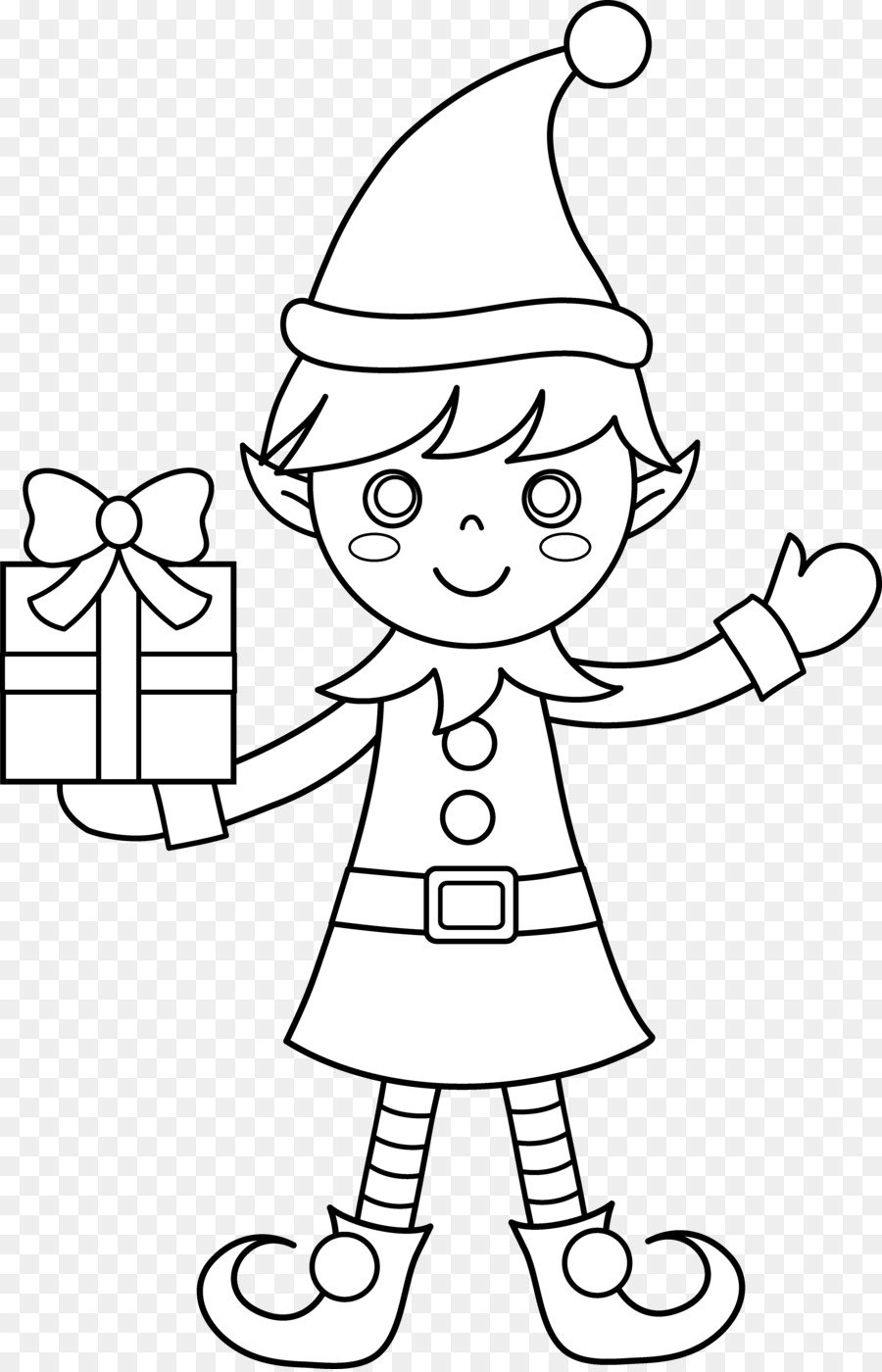 Download christmas elf colouring clipart Santa Claus Colouring Pages ...