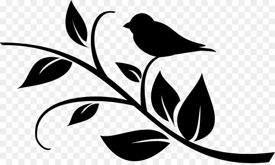 Flower black and white silhouette. Clipart