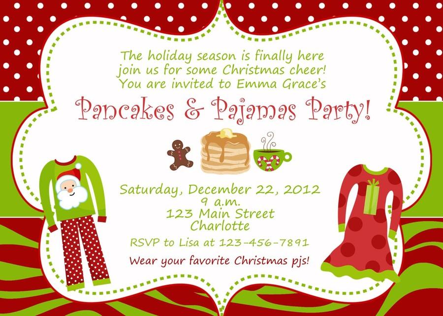 download christmas pajama party invitations clipart sleepover birthday christmas day - Christmas Pajama Party